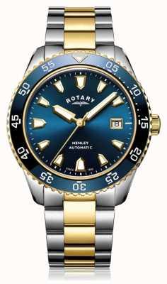 Rotary Herren Henley automatische zweifarbige Armband blaue Zifferblatt Uhr GB05131/05