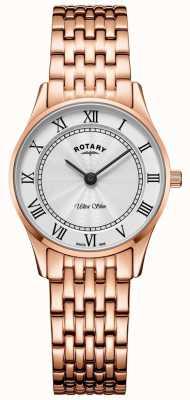 Rotary Ultra schlanke Roségoldarmbanduhr für Damen LB08304/01