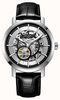 Rotary Herren Greenwich schwarz Leder Armband Skelettuhr GS05350/02