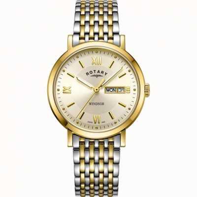 Rotary Herren Windsor Uhr | zweifarbiges Edelstahlarmband | GB05301/09