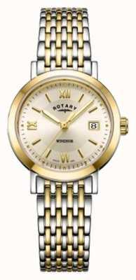 Rotary Damen Windsor zweifarbige Armbanduhr aus Gold und Silber LB05301/09