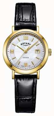 Rotary Damen Windsor Perlmutt Zifferblatt schwarzes Lederarmband LS05303/41