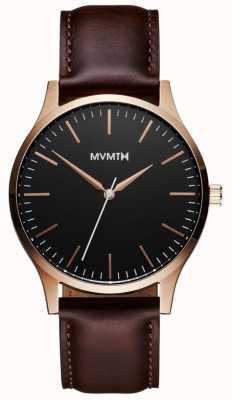 MVMT 40er Serie roségoldbraun | brauner Riemen | schwarzes Zifferblatt D-MT01-BLBR