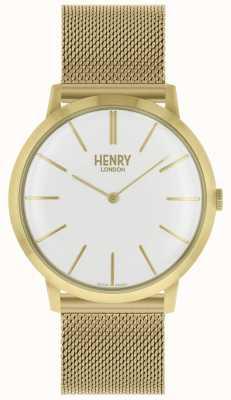 Henry London Ikonenhaftes weißes Zifferblatt mit goldfarbenem Mesh-Armband HL40-M-0250