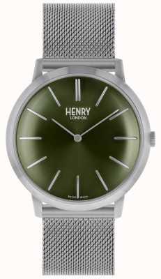 Henry London Ikonisches silbernes Mesh-Band mit grünem Zifferblatt HL40-M-0253