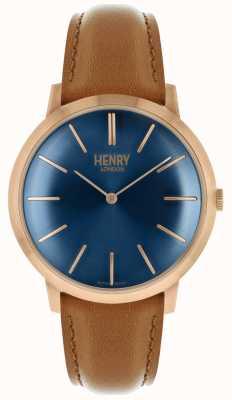 Henry London Iconic Navy Zifferblatt Tan Lederband Rose Tonfall HL40-S-0244