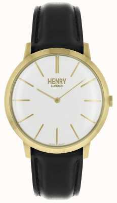 Henry London Iconic weißes Zifferblatt schwarzes Lederarmband goldfarbenes Gehäuse HL40-S-0238
