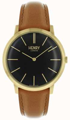 Henry London Kultiges schwarzes Zifferblatt mit braunem Lederband in goldfarbenem Gehäuse HL40-S-0242