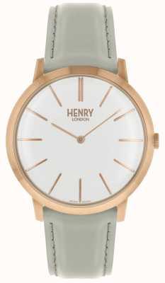 Henry London Iconic weißes Zifferblatt grau Lederband rosa Tonfall HL40-S-0290