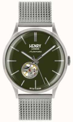 Henry London Heritage Mens automatische Silber Stahlgitter grün Zifferblatt Uhr HL42-AM-0283