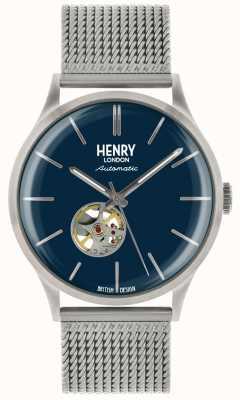 Henry London Heritage Mens automatische Silber Stahlgitter blau Zifferblatt Uhr HL42-AM-0285