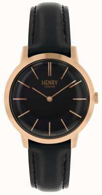 Henry London Ikone schwarzes Zifferblatt schwarzes Lederarmband zu sehen HL34-S-0218