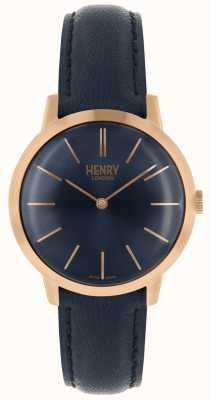 Henry London Iconic Damenuhr Marine Navy Lederarmband HL34-S-0216