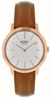 Henry London Ikonische Damenuhr weißes Zifferblatt aus braunem Lederarmband HL34-S-0212