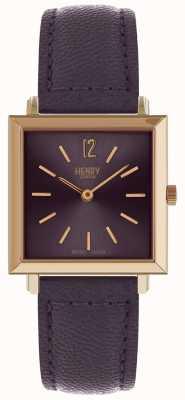 Henry London Die zierliche quadratische Uhr der Erbe-Frauen lila HL26-QS-0260