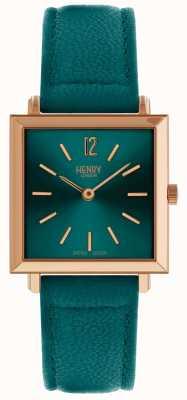 Henry London Das zierliche quadratische Uhrgrün der Erbe-Frauen HL26-QS-0258