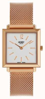 Henry London Heritage Womens petite Quadrat Uhr stieg Gold Mesh HL26-QM-0264