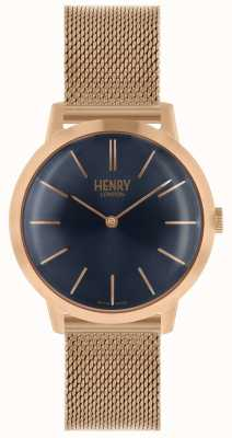 Henry London Iconic Damenuhr Roségold Mesh Armband blaues Zifferblatt HL34-M-0292