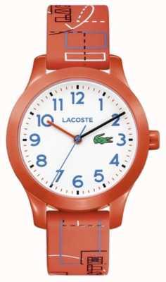 Lacoste 12.12 Kinder orange Band weißes Zifferblatt 2030010