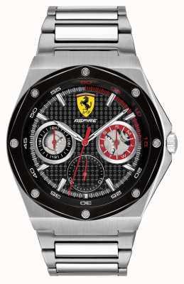 Scuderia Ferrari Datumsanzeige aus Edelstahl mit schwarzem Zifferblatt 0830535