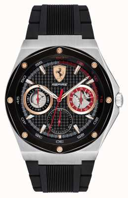 Scuderia Ferrari Mens streben schwarzes Kautschukband Gold Akzente Datumsanzeige 0830556