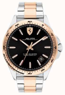 Scuderia Ferrari Herren Pilota zweifarbig vergoldet Armband schwarzes Zifferblatt 0830528