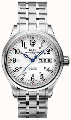 Ball Watch Company Firma 60 Sekunden weißes Zifferblatt Tag & Datum anzeigen NM1058D-S3J-WH