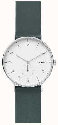 Skagen Herren aaren grün Lederband Uhr SKW6466