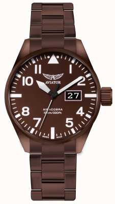Aviator Herren Aircobra P42 Bronze überzogene Stahluhr V.1.22.8.151.5