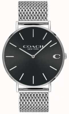 Coach Herren Charles Silver Mesh Armband schwarzes Zifferblatt Uhr 14602144