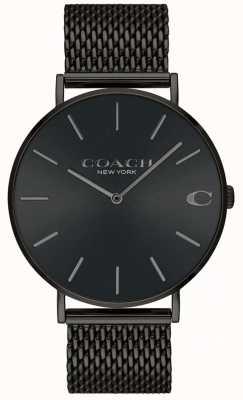 Coach Mens charles schwarz Mesh Armband schwarz Zifferblatt Uhr 14602148