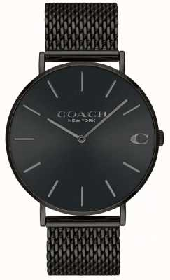 Coach Herren Charles Black Mesh Armband schwarzes Zifferblatt Uhr 14602148