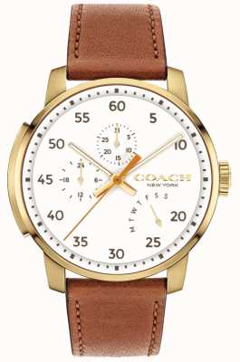 Coach Mens blecker Uhr Multifunktions-weißes Zifferblatt 14602340