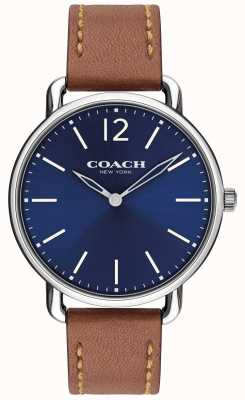 Coach Herrenarmband delancey slim mit blauem Zifferblatt und braunem Lederband 14602345