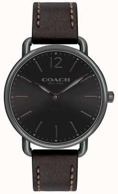 Coach Mens delancey schlanke Uhr schwarzes Zifferblatt Blackleather Strap 14602346