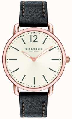 Coach Herrenuhr delancey slim watch weißes Zifferblatt mit schwarzem Lederarmband 14602347