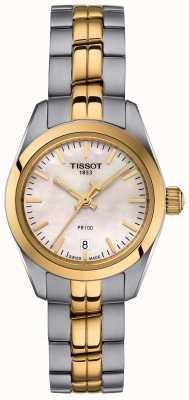 Tissot Damen pr100 zweifarbige Armband Perlmutt Zifferblatt Uhr T1010102211100