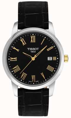 Tissot Mens Classic Dream schwarzes Leder schwarzes Zifferblatt römische Ziffern T0334102605301
