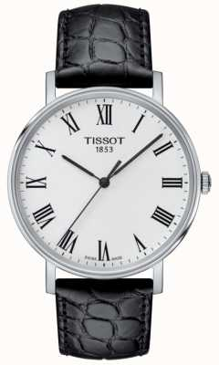 Tissot Mens immer schwarz geprägte Lederband weißes Zifferblatt T1094101603301