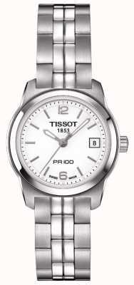 Tissot Womens pr100 Edelstahl Silber Zifferblatt swiss made T0492101101700