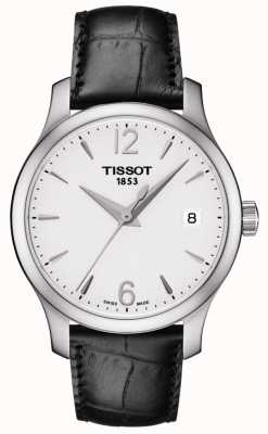 Tissot Womens Tradition Silber Zifferblatt schwarzes Lederarmband T0632101603700