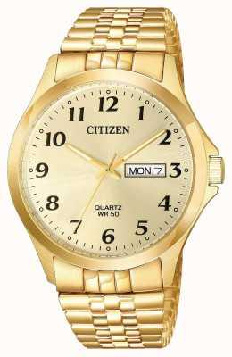 Citizen Mens Quarz vergoldet Expansion Armband Tag Datum BF5002-99P