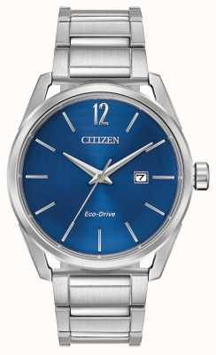 Citizen Herren Eco-Drive Edelstahl blau Zifferblatt Datumsanzeige BM7410-51L