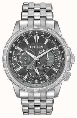 Citizen Eco-Drive-Kalendarium Edelstahl 32 Diamanten graues Zifferblatt BU2080-51H
