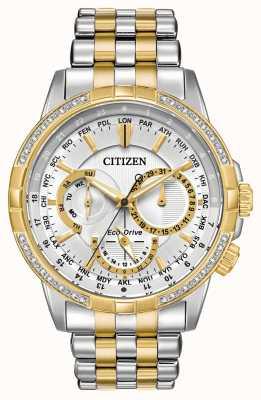 Citizen Mens Kalender Eco-Drive zwei Ton 32 Diamanten Silber Zifferblatt BU2084-51A