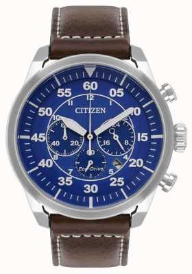 Citizen Herren Avion Eco-Drive blaues Zifferblatt braunes Lederband wr100 CA4210-41L