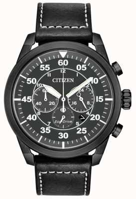 Citizen Herren Avion Eco-Drive schwarz Leder schwarz Chronograph CA4215-21H