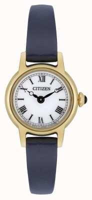 Citizen Womens Eco-Laufwerk blaues Lederarmband vergoldetes weißes Zifferblatt EG2995-01A