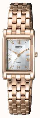 Citizen Damen Quarz vergoldetes, rechteckiges Gehäuse, silbernes Zifferblatt EJ6123-56A
