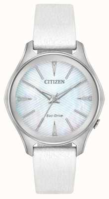 Citizen Womens Eco-Drive Silber Zifferblatt weißes Lederband EM0590-03D